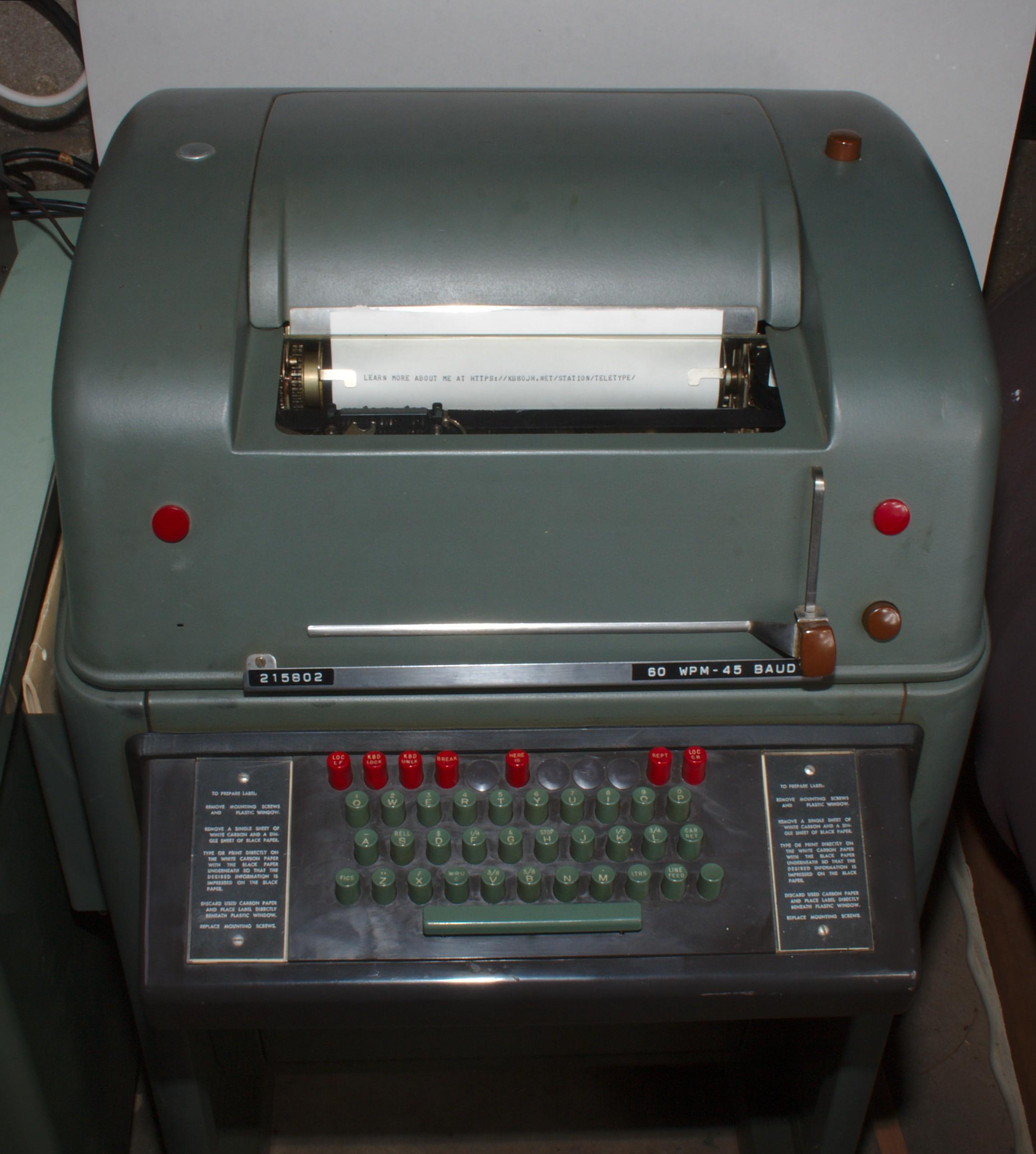 kb8ojh net - Station Information - Teletype